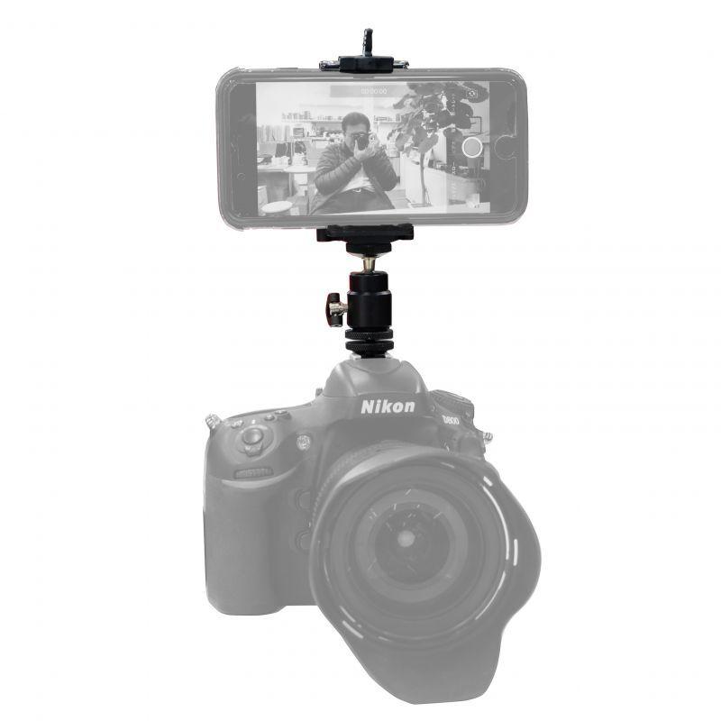画像1: カメラにスマホをマウントして動画も一緒に撮影するセット【送料無料】 (1)