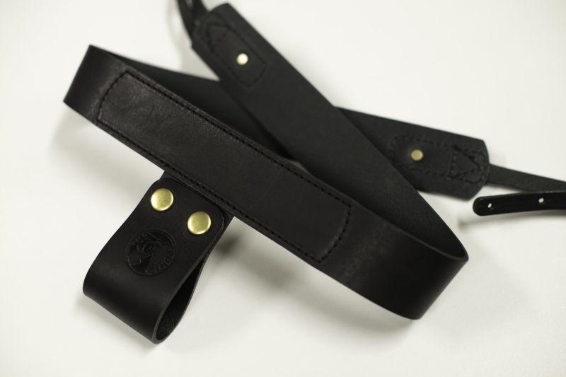 画像1: カメラストラップ 「カリーナストラップ」 本革製ブラックver2 (1)